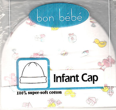 Baby Cradle Knit Cap , White w/Rabbits, Duck Print, 0-6 Months, By Bon Bebe, New