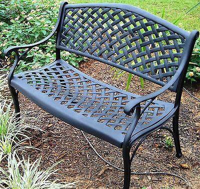 Outdoor Garden Cast Aluminum Victorian Crosweave French Patio Park Bench Antique