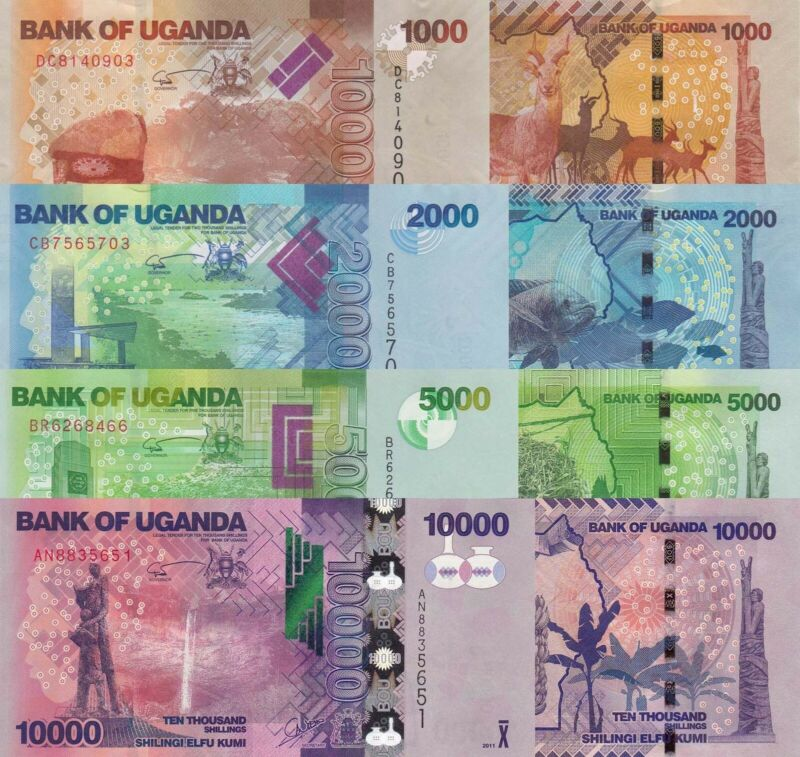 Uganda 4 Note Set: 1000 to 10000 Shillings (2017) - p49 to p52 UNC