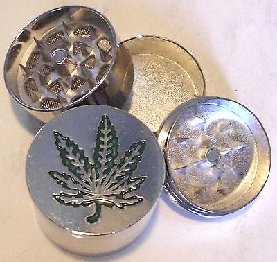 HERB GRINDER Large Pot Weed Leaf Metal Magnetic Pollen Screen 3 Piece 40mm NICE! on Rummage