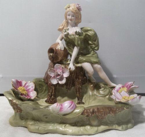 IMPRESSIVE Antique German Porcelain Figure of Lady at Flower Lined Gazing Pool