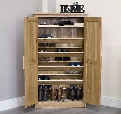 Arden solid oak hallway furniture shoe storage cabinet cupboard rack shelf unit