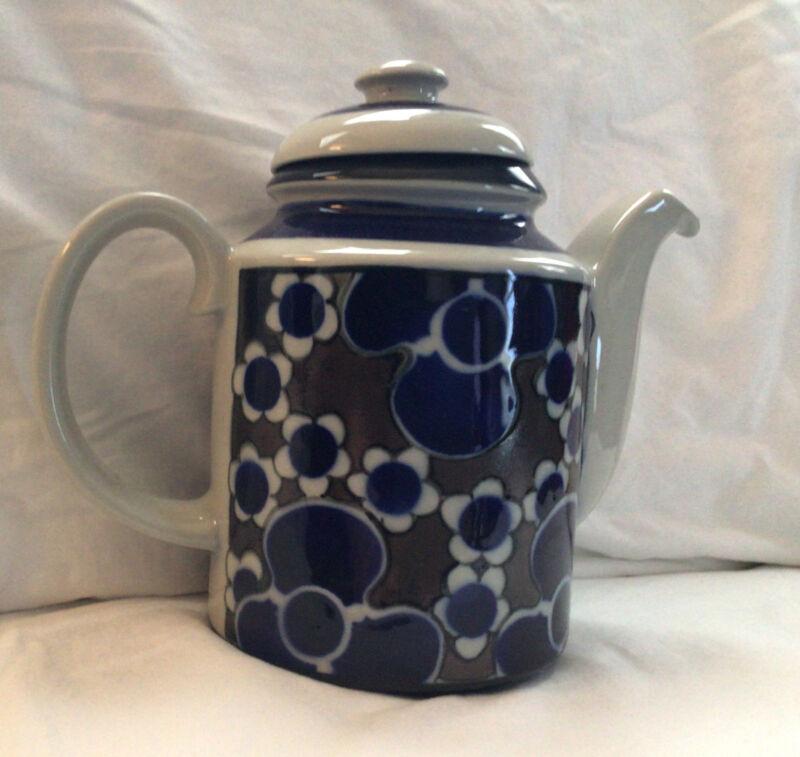 Vintage Arabia Finland SAARA Coffee Pot Blue & Brown