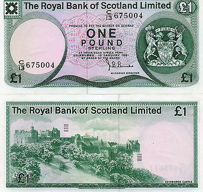The Royal Bank Of Scotland Limited 1981 1 Pound Banknote P 336 Unc