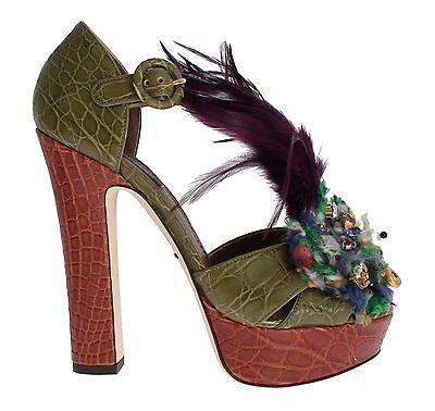 Dolce & Gabbana Zapatos Verde Piel Cristal Sandalia de Plataforma EU38.5 /