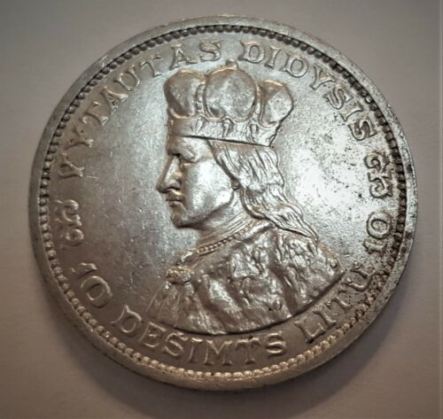 1936 Lithuania 10 Silver Litu Grading in the AU Range Priced Right FREE S&H  f29