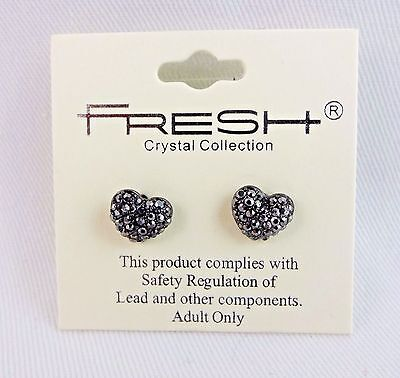 Puffy gray heart post earrings crystals studs Fresh Crystal Studded Puffy Heart