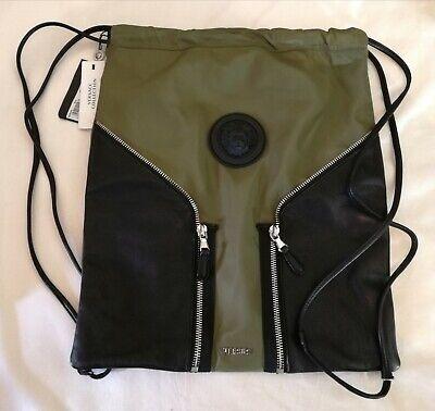 Versus Versace Drawstring Rucksack Backpack Lion Head Green RRP £259