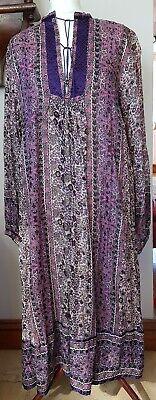 vintage  indian gauze cotton midi smock dress pink purple med / large