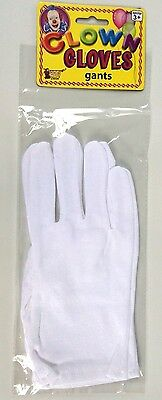 WHITE CLOWN GLOVES Poly Cotton Santa Magician Mime Dress Costume Butler Hand  - White Magician Gloves