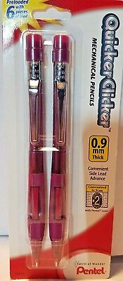 Pentel Quicker Clicker Mechanical Pencils 0.9mm Lead 3.5mm Fixed Sleeve 2pk