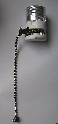 PORCELAIN PULL CHAIN LAMP LIGHT SOCKET INTERIOR w/ Antique Finish Chain #SO210A