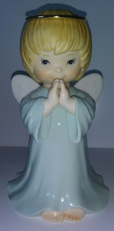 """Classic Treasures Praying Angel Figurine Porcelain Collectible 7.5"""" BLUE"""