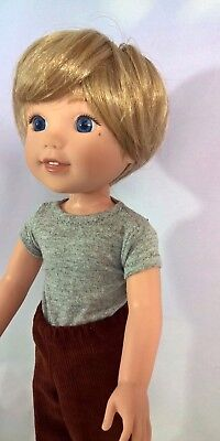 "8-9"" Custom Doll Wig fits Dolfie, Luts, Zapf, Wellie Wisher L'IL TOUSLED BOY bn5"