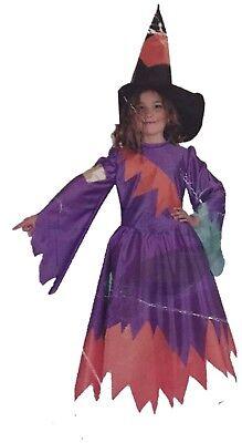 BRUJA COLORINES CON GORRO INFANTIL  8 Años (105 Cm) HALLOWEEN,Nuevo.37](Brujas Infantiles Halloween)