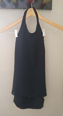 Keepsake The Label Halter Open Back Tank Top Mini Dress Medium Black Zipper