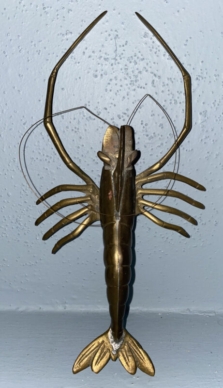 "Vintage 11.5"" Brass Lobster Crayfish Crawfish Figurine Marine Statue Mid Century"