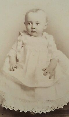 Vintage Antique Cabinet Card Photograph Baby Girl Rockstead Studio Rockford, IL