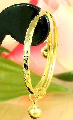 SET OF 2 ~ 22K THAI BAHT DP GOLD BABY GIRL ADJUSTABLE ANKLETS BRACELETS, used for sale  USA