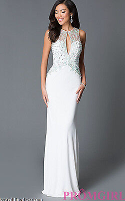 - JOVANI ~ Ivory Jersey Keyhole Embellished Illusion Bodice Formal Gown 6 NEW $440