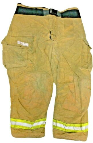 48x30 Globe Gxtreme Brown Firefighter Turnout Pants Yellow Tape No Liner PNL-27