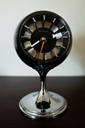 Vintage Bulova Mid Century Modern Black and Chrome Pedestal Ball Clock