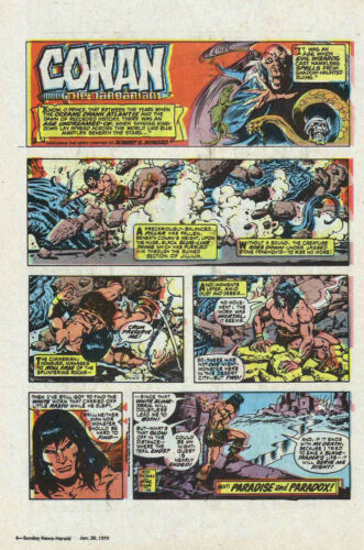 Conan the Barbarian by Roy Thomas - full page color Sunday comic - Jan. 28, 1979