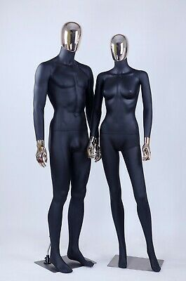 Female Male Full Body Mannequins W. Removable Gold Head Hands 1 Black Couple