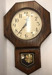 HOWARD MILLER Schoolhouse Wall Clock Model 612-709 Oak Quartz Westminster Chime