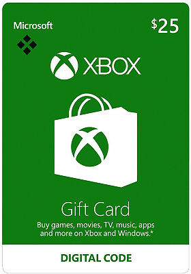 $25 USD Xbox Live Card - 25 US Dollar Microsoft Prepaid Code 360 One - USA for sale  Shipping to United States