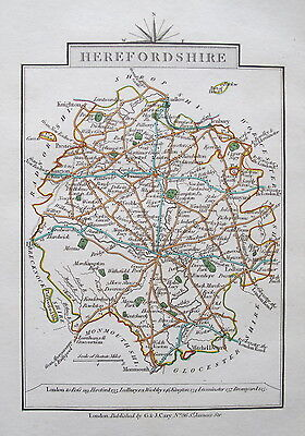HEREFORDSHIRE 1828 Miniature Antique Map by Cary Hand Coloured