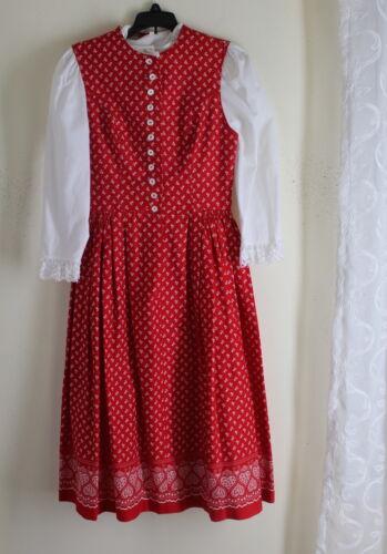 Eger Dirndl 100% Cotton Floral Heart Fine German Tracht Dress Lace Shirt 40