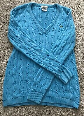 Light Blue Lacoste Size 38 V Neck Cable Cotton Sweater For Spring See Pic
