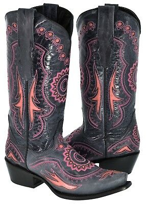 Womens Blue Leather Embroidered Coral Pink Inlay Cowboy Boots Western Snip Toe - Blue Cowboy Boots
