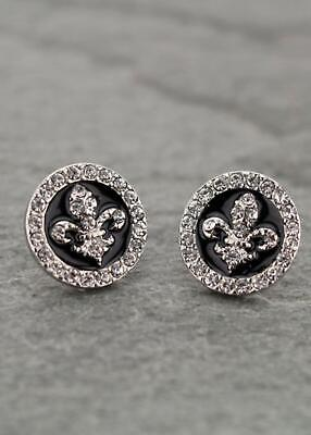 NEW! FLEUR DE LIS  /NEW ORLEANS/SAINTS EARRINGS-SILVER AND BLACK