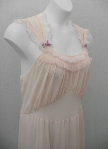 Seamprufe Vintage 60s Pink Flounce Trim GLAM Long Nightgown Size Medium