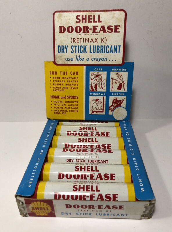 VTG NOS 1950s SHELL DOOR EASE DISPLAY BOX W/ 6 METAL TUBES UNUSED SHELL GAS  OIL