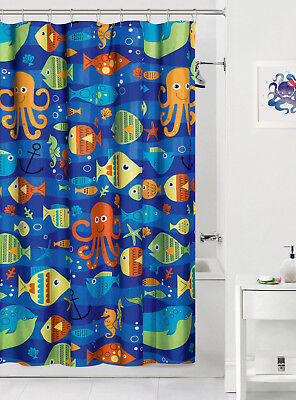 Sealife Colorful Ocean Fish Fabric Shower Curtain Bath Kids Child Octopus Decor ()