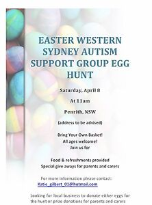 Western Sydney Autism Support Group Easter morning help Penrith Penrith Area Preview