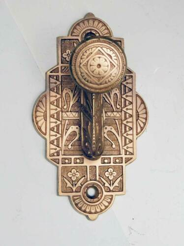 One Antique Circa 1880 Ornate Cast Bronze Door Bell Pull Trip Handle Only