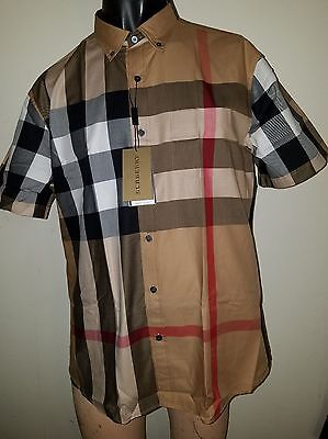 Burberry Brit Mens Camel Fred Woven Short Sleeve Button Down Check Shirt S M L