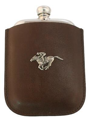 Horse Racing Pewter 4oz Traditional Hip Flask In Leather Pouch FREE ENGRAVING