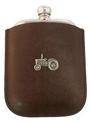 Tractor Pewter 4oz Kidney Traditional Hip Flask In Leather Pouch FREE ENGRAVING