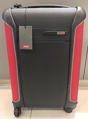 NEW Tumi Dark Grey/Red Lightweight International Carry-on Travel Luggage #283520