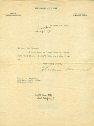"Vintage Theodore Roosevelt ""The Kansas City Star"" October 29, 1918 Signed Letter"