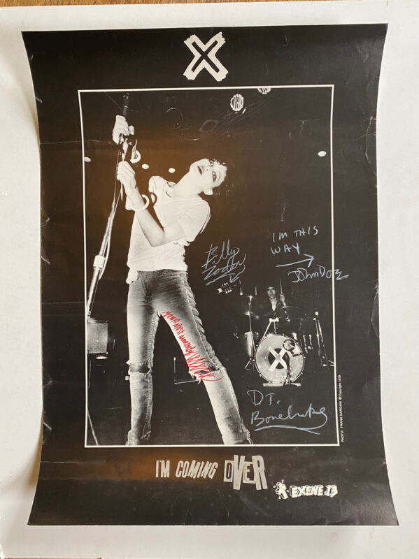 Vintage X Band SIGNED Poster Exene John Doe 1979 Very Cool Black & White