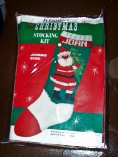 Kit : Hand Knit Wool Christmas Stocking Santa Holding a Tree