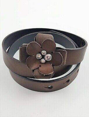 New Abercrombie & Fitch leather PRETTY FLOWER rhinestone embellished BELT XS/S