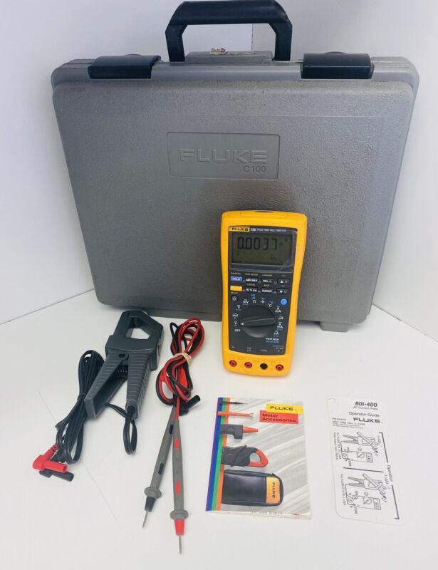 Fluke 189 True RMS Multimeter 1000V Cat III With AC Corrent Probe & Case, Tested