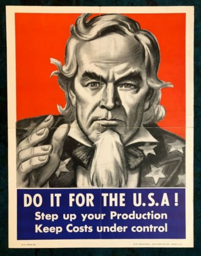 WWII WW2 Original War Poster USA Production Uncle Sam Homefront Service New York